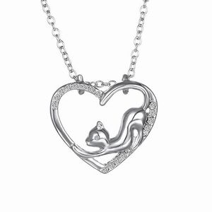 Jewelry - Cat heart rhinestone silver necklace cat lover